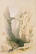 Petra Metal Prints -  Triumphal Arch crossing the Ravine leading to Petra Metal Print by David Roberts
