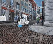 Vendeur Sur La Rue Vieux Montreal Print by Reb Frost