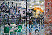 Floods Paintings -  Venice In Peril -  Global  Warming Warning by Ronald Haber