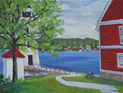 Park Scene Paintings -  View from Rock Island State Park NY by Robert P Hedden