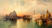 Boats On Water Prints -  View of Venice Print by Thomas Moran