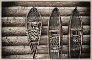 Cabin Wall Metal Prints -  Vintage Snow Shoes Metal Print by Carter Jones