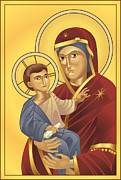 Jesus Christ Icon Prints -  Virgin Mary and Jesus Christ Print by Christos Georghiou