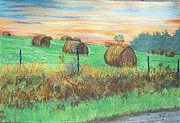 Bales Paintings -  Virginia Hay Bales by Frank Giordano