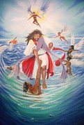 African Jesus Framed Prints -    Walk On Water Framed Print by Chuck Collins