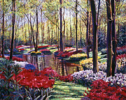 Gardenscape Paintings -  Water Romance by David Lloyd Glover