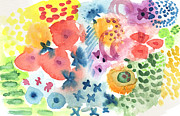 Leaves Mixed Media Prints -  Watercolor Garden Print by Linda Woods
