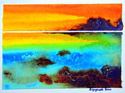 Beach Scenery Drawings Prints -  Western Australia ocean sunset Print by Roberto Gagliardi