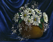 Lenora  De Lude -  White Daisies In Blue...