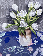 Table Cloth Painting Metal Prints -  White Tulips Metal Print by Cristiana Angelini