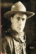 Autographed Metal Prints -  William S. Hart portrait c.1918 Nelson Miles photographer Virginia City Montana 1971 Metal Print by David Lee Guss