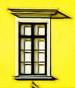 Glass Wall Digital Art -  Window On Yellow Cement Wall by Odon Czintos