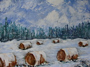 Snow Tree Prints Prints -  Winter Hay Fields Print by Beverly Livingstone