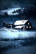 Sandra Cunningham - Snow scene of a farmhouse at night/ digital painting