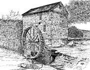 Grist Mill Drawings Posters -  Wolf Pen Mill Poster by Robert A Powell