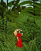 Naive Paintings -  Woman in Red in the Forest by Henri Rousseau