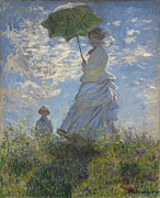 Female Posters -  Woman with a Parasol Madame Monet and Her Son Poster by Claude Monet
