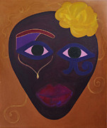 Horus Painting Metal Prints -  Woman with Yellow Flower Metal Print by Elena Fattakova