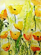Gruenwald Mixed Media Framed Prints -  Yellow Poppy 2 - Abstract Floral Painting Framed Print by Ismeta Gruenwald