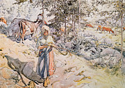 Herder Posters -  Young Girl Weaving Poster by Carl Larsson
