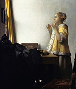 Jan Vermeer Paintings -  Young Woman with a Pearl Necklace by Johannes Vermeer