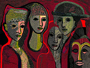 Blind Eyes Prints - 006 - Women and Masks ...  Print by Irmgard Schoendorf Welch