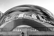 Chicago Black White Posters - 0071 The Bean Chicago Poster by Steve Sturgill