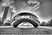Chicago Black White Posters - 0079 The Bean - Millennium Park Chicago Poster by Steve Sturgill