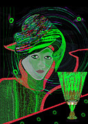 Inu Digital Art - 010 - Green drink   by Irmgard Schoendorf Welch