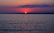 Navarre Beach Photographs Prints - 0428 Cloudy Red Sunset on Santa Rosa Sound Print by Jeff at JSJ Photography