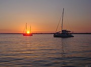 Navarre Beach Photographs Prints - 0529 Sunset with Two Sailboats Print by Jeff at JSJ Photography