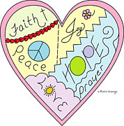 Christian Artwork Drawings - #05PD Faith Patchwork by Printed Drawings
