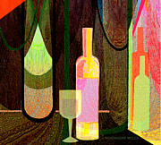 Wine-bottle Posters - 064 Still life with  Bottle Poster by Irmgard Schoendorf Welch