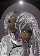 Satin Dress Metal Prints - 065 - White veiled Ladies   Metal Print by Irmgard Schoendorf Welch