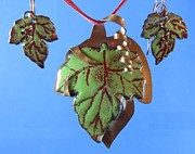 Grape Leaf Jewelry - 0911 Fall Grape by Dianne Brooks