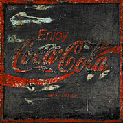 Coke Black Posters -  Coca Cola Sign Grungy  Poster by John Stephens