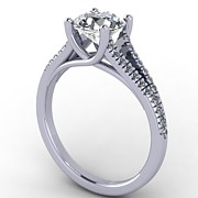 Platinum Jewelry - 14K White Gold Diamond Ring with Moissanite Center Stone by Eternity Collection