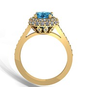 Platinum Jewelry - 14K Yellow Gold Diamond Ring with Blue Topaz Center Stone by Eternity Collection