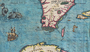 Between The Two Posters - 1591 De Bry and Le Moyne Map of Florida and Cuba Poster by Paul Fearn