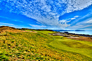Us Open Framed Prints - #16 at Chambers Bay Golf Course - Location of the 2015 U.S. Open Championship Framed Print by David Patterson