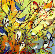 Rainbow Metal Prints - 16 Birds Metal Print by Jennifer Lommers