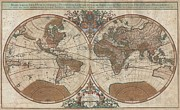 Map Of The Hand Posters - 1691 Sanson Map of the World on Hemisphere Projection Poster by Paul Fearn