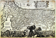 Old Map Paintings - 1702 Visscher Stoopendaal Map of Israel Palestine or the Holy Land Geographicus PerigrinatiaeVeertic by MotionAge Art and Design - Ahmet Asar