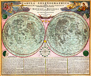Maps Paintings - 1707 Homann and Doppelmayr Map of the Moon Geographicus TabulaSelenographicaMoon doppelmayr 1707 by MotionAge Art and Design - Ahmet Asar