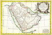 Old Map Paintings - 1771 Bonne Map of Arabia Geographicus Arabia bonne 1771 by MotionAge Art and Design - Ahmet Asar