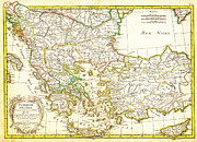 Vintage Map Paintings - 1771 Janvier Map of Greece Turkey Macedonia andamp the Balkans Geographicus TurqEurope janvier 1771 by MotionAge Art and Design - Ahmet Asar