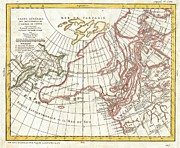 Great American Past Time Prints - 1772 Vaugondy  Diderot Map of Alaska the Pacific Northwest and the Northwest Passage Print by Paul Fearn