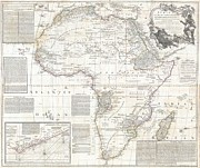 African Kingdoms Prints - 1794 Boulton and Anville Wall Map of Africa Print by Paul Fearn