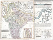 Map Of The Hand Posters - 1814 Thomson Map of India Poster by Paul Fearn