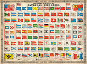 Maps Paintings - 1864 Johnson Chart of the Flags and National Emblems of the World Geographicus Flags johnson 1864 by MotionAge Art and Design - Ahmet Asar